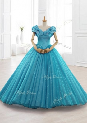 Exquisite Cap Sleeves Teal Quinceanera Gowns with Appliques