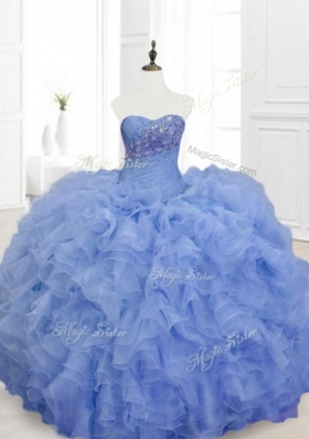 2016 New Style Blue Sweet 16 Dresses with Beading and Ruffles