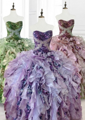 Luxurious Beading Multi Color Quinceanera Dresses with Ruffles and Pattern