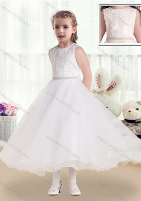 Fashionable Scoop Tea Length Little Girl Pageant Dresses with Lace