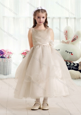 First Communion Ball Gown Flower Girl Dresses with Hand Made Flowers
