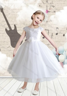First Communion Cap Sleeves Bateau Flower Girl Dresses with Appliques
