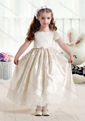 First Communion Flower Girl Dresses with Lace