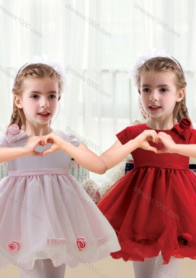 First Communion Mini Length Short Sleeves Little Girl Dress with Bowknot