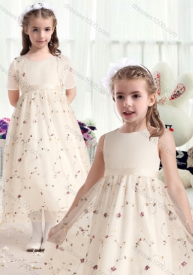 First Communion Scoop Flower Girl Dresses with Belt