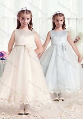 First Communion Scoop Flower Girl Dresses with Hand Made Flowers