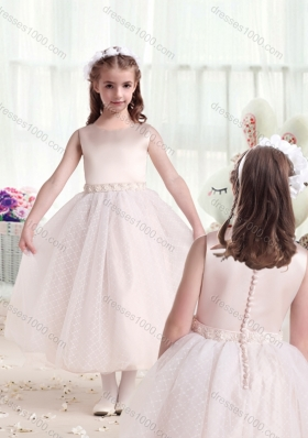 First Communion Scoop Princess Flower Girl Dresses with Appliques