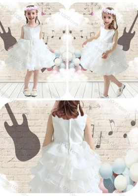 First Communion Scoop White Flower Girl Dresses with Ruffled Layers