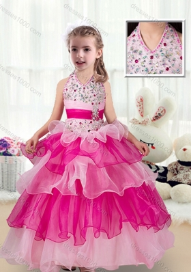 Pretty Halter Top Little Girl Pageant Dresses with Ruffled Layers