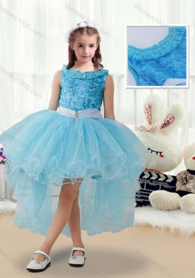 Latest High Low Little Girl Pageant Dresses with Belt and Appliques