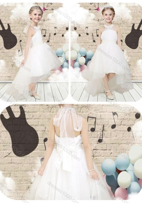 Lovely High Low Halter Top White Little Girl Pageant Dresses