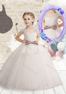 Wonderful Cap Sleeves Little Girl Pageant Dresses with Bowknot and Lace