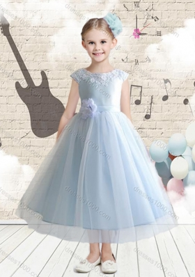 New Arrival Bateau Cap Sleeves Flower Girl Dresses with Applique