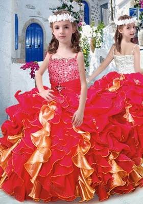 Luxurious Spaghetti Straps Little Girl Pageant Dresses with Beading and Ruffles