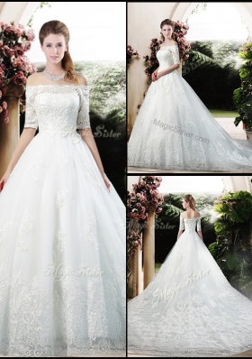 2016 Latest A Line Off the Shoulder Half Sleeves Wedding Dresses with Appliques