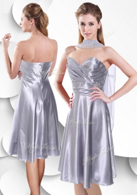 2016 Best Empire Elastic Woven Satin Silver Bridesmaid Dress with Beading and Ruching