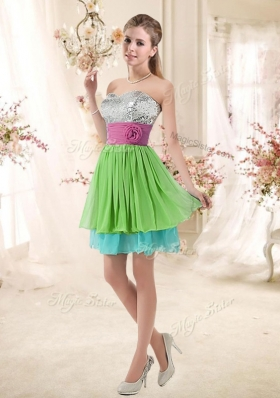 2016 Cheap Sweetheart Short Bridesmaid Dresses with Sequins and Belt
