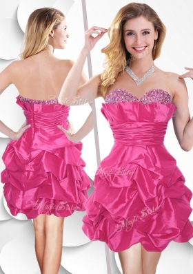 2016 Fashionable Hot Pink Taffeta Prom Dress with Beading and Bubles