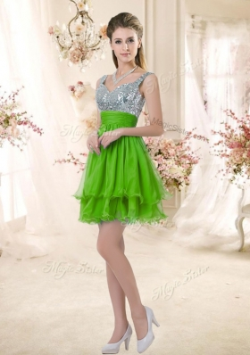 2016 Latest Straps Short Prom Dresses with Sequins for Fall