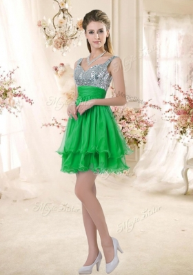 2016 New Arrivals Short Straps Prom Dresses with Sequins for Fall