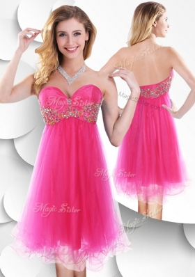 2016 Pretty Sweetheart Hot Pink Short Prom Dress with Beading