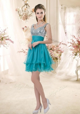 2016 Top Selling Straps Short Sequins Prom Dresses in Teal