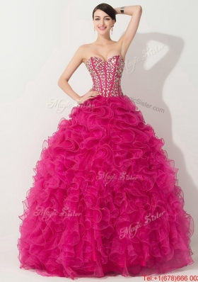 Visible Boning Hot Pink Quinceanera Gown with Beading and Ruffles