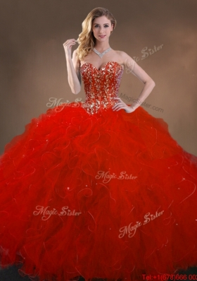 2016 Ball Gown Beaded and Ruffles Quinceanera Gowns in Red