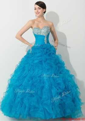 Clearance Princess Baby Blue Quinceanera Gown with Beading and Ruffles