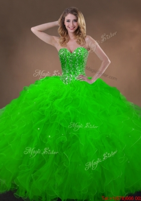 Clearance Spring Green Quinceanera Gowns with Beading and Ruffles