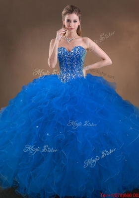 Designer Big Puffy Beaded and Ruffled Sweet 16 Dress in Blue