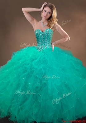 New Arrivals Beaded and Ruffles Quinceanera Gowns in Turquoise