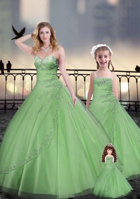 Ball Gown Macthing Princesita With Quinceanera Dresses in Spring Green with Beading and Appliques