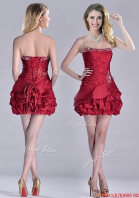 2016 Classical Taffeta Wine Red Short Prom Dress with Beading and Bubbles