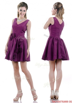 Exquisite V Neck Taffeta Purple Prom Dress with Handcrafted Flowers
