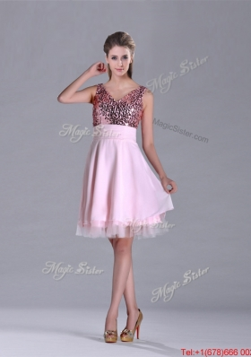 Latest V Neck Sequined Decorated Bodice Prom Dress in Baby Pink