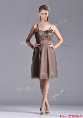 Popular Chiffon Brown Short Prom Dress with Spaghetti Straps