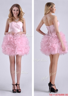 Sweet Ball Gown Ruched Baby Pink Short Prom Dress in Rolling Flowers