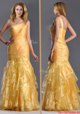 2016 Elegant Mermaid One Shoulder Organza Ruffled Prom Dress in Gold