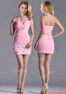 2016 Latest Column Halter Top Prom Dress with Beading and Ruching