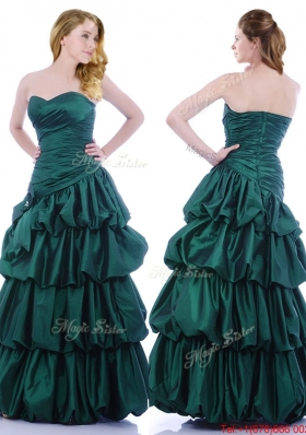 2016 Popular A Line Ruched and Bubble Prom Dress in Hunter Green