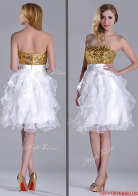 Classical Organza Sequined and Ruffled Prom Dress in White and Gold