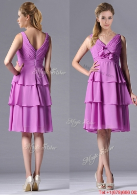 Classical V Neck Lilac Prom Dress with Handcrafted Flower and Ruching