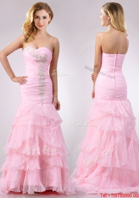 Lovely  Brush Train Organza Pink Prom Dress with Beading and Ruffles