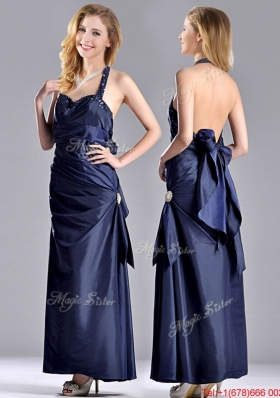 Luxurious Beaded Decorated Halter Top Prom Dress in Navy Blue