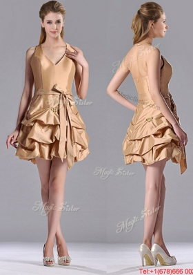 Most Popular Halter Top Champagne Prom Dress with Bubbles and Bowknot