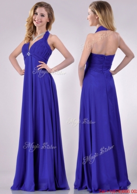 New Style Halter Top Zipper Up Long Prom Dress in Blue