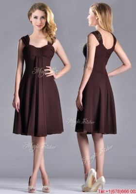 Best Selling Empire Ruched Brown Prom Dress with Wide Straps