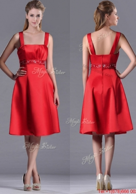 Best Selling Square Beaded Decorated Waist Christmas Party Dress in Knee Length