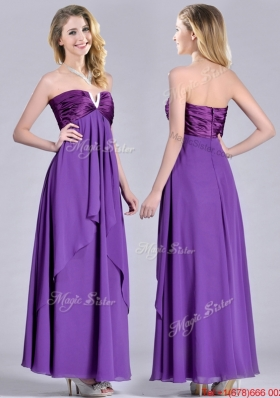 Cheap Beaded Decorated V Neck Chiffon Christmas Party Dress in Eggplant Purple